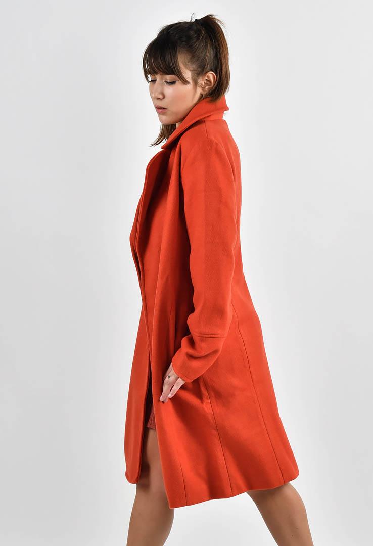 klassischer Mantel in knalligem Orange-Rot – Bild 2