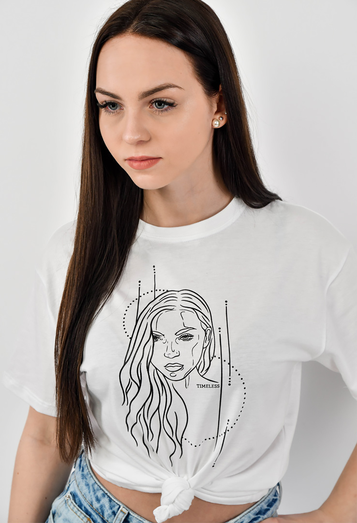 "T-Shirt in weiss ""Portrait"""