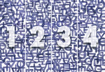 Papier Fototapete Kunst Grafik Abstrakt Blau 368x254cm – Bild 4