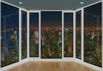 Papier Fototapete 3D-Panorama-Fensteransicht 368x254cm 001