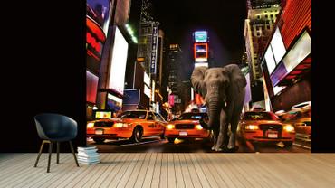 Wall Mural Elephant In New York Paper 368x254cm – Bild 2