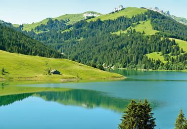 Papier Fototapete Schweizer Bergsee Launensee Gstaad 368x254cm – Bild 1