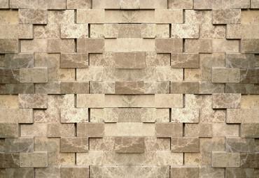 Papier Fototapete 3D Steinmauer 368x254cm – Bild 1
