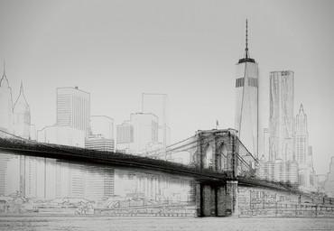 Vlies Fototapete New York Art Illustration schwarz und weiß 368x254cm – Bild 1