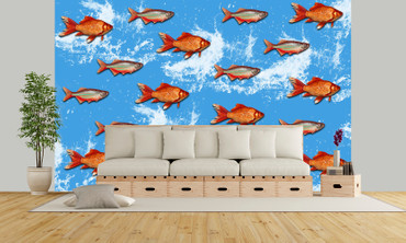 Wall Mural Gold Fishes Vintage Non-Woven 368x254cm – Bild 2