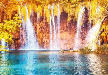 Vlies Fototapete Wasserfall und See in Kroatien 368x254cm – Bild 3