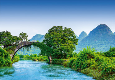 Vlies Fototapete Brücke in China 368x254cm – Bild 1