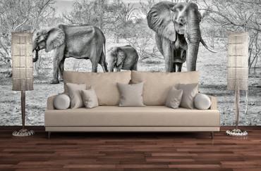 Vlies Fototapete Elefantenfamilie 368x254cm – Bild 2