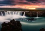 Vlies Fototapete Seidige Wasserfälle 368x254cm 001