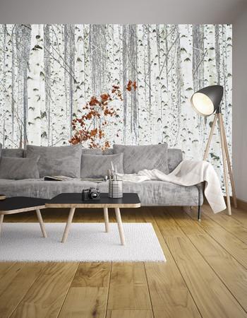 Wall Mural White Birch Forest Non-Woven 368x254cm – Bild 2