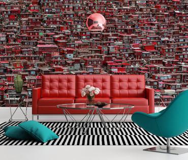 Vlies Fototapete Rote Häuser China 368x254cm – Bild 2