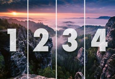 Vlies Fototapete Sonnenaufgang auf den Felsen 368x254cm – Bild 4