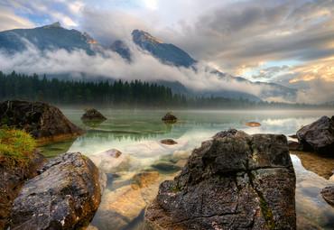Vlies Fototapete Bergsee 368x254cm – Bild 1