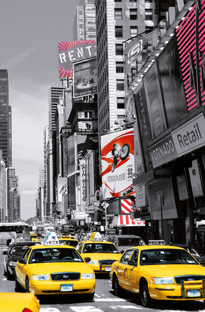 XXL Poster New York Gelbe Taxis Time Square