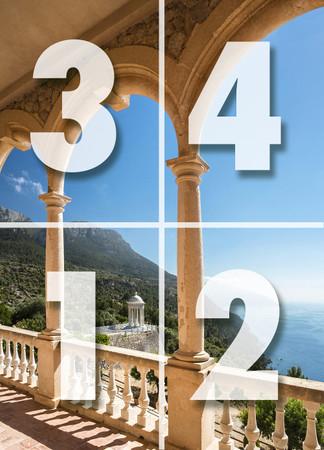 Fototapete Terrasse auf Mallorca mit Meerblick in Bucht als optische Vergrößerung – Bild 3
