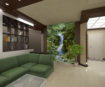 Wall Mural Waterfall in Spring – Bild 1