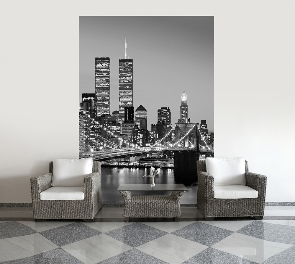 fototapete new york manhattan brooklyn bridge skyline mit br cke schwarz wei papier fototapeten. Black Bedroom Furniture Sets. Home Design Ideas
