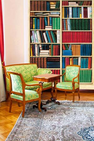 Fototapete Bücherregal Optische Täuschung Bücherwand – Bild 1