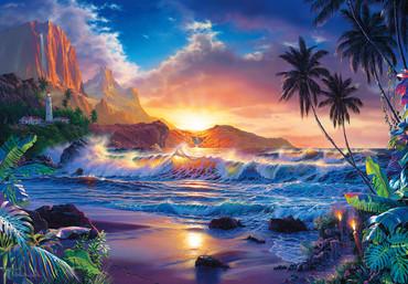 Fototapete Strand und Meer mit Sonnenuntergang und Leuchtturm – Bild 2