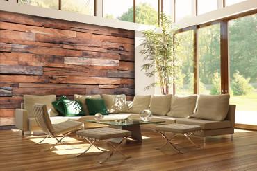 Fototapete Holzwand aus edlem Holz in Braun