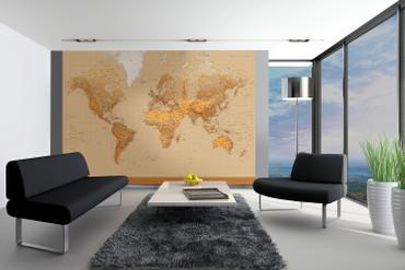 Fototapete Weltkarte Vintage inklusive Zeitzonen unten