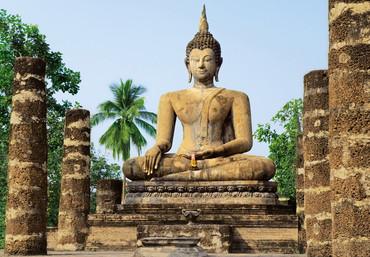 Fototapete Buddha aus Stein in altem Tempel – Bild 1