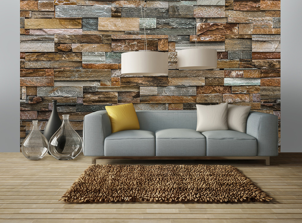 Wall mural colorful stone wall paper wall murals xxl paper for Decor mural xxl