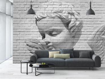 Fototapete Bachstein Wand mit Engel Steinoptik – Bild 1