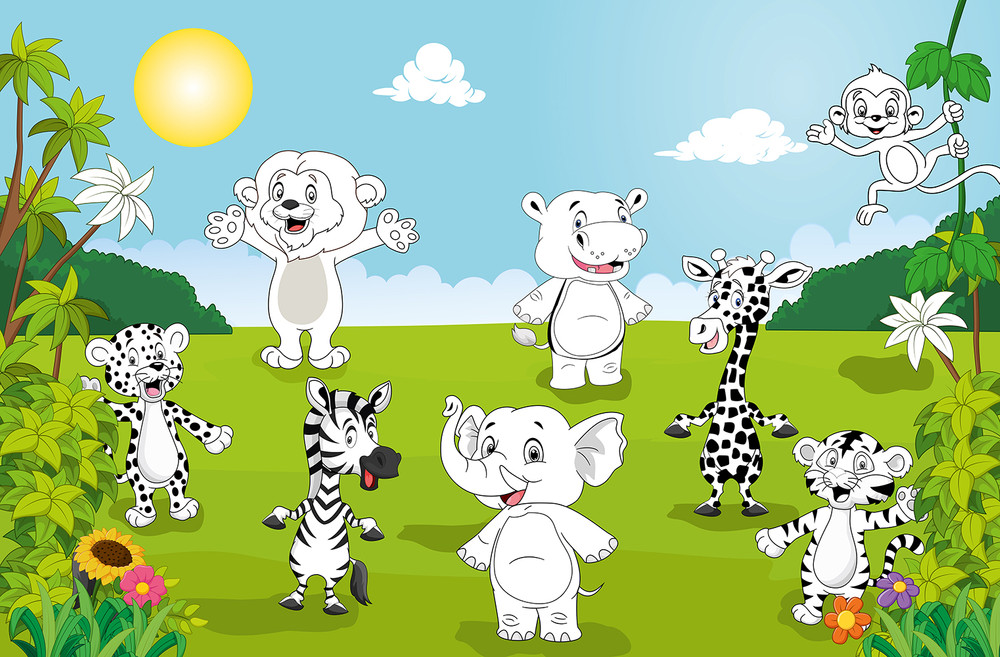 Giant Art XXL Poster Happy Animals – Color It Yourself 001
