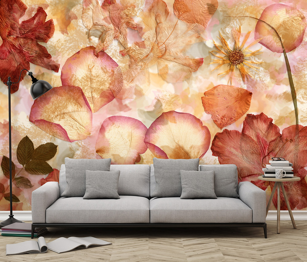 Non-Woven Wall Mural Dried Flowers 001