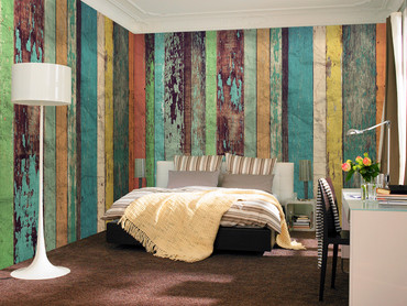 Non-Woven Wall Mural Colored Wooden Wall – Bild 1