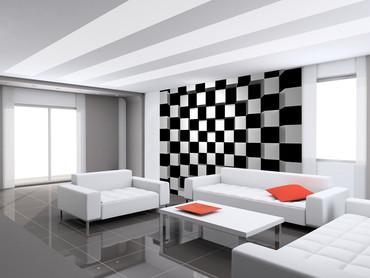Non-Woven Wall Mural Black + White Squares – Bild 1