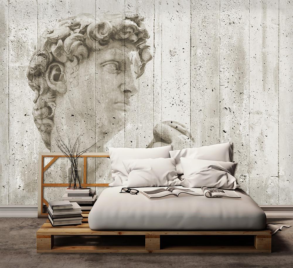 vlies fototapete kunst steinwand mit statue vlies fototapeten xxl vlies fototapeten. Black Bedroom Furniture Sets. Home Design Ideas