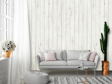 Wall Mural White Wooden Wall – Bild 1