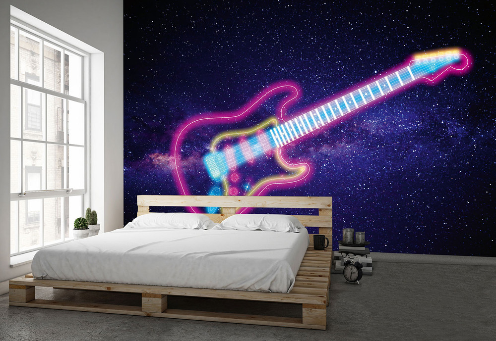 fototapete f r kinder weltall gitarre space vlies fototapeten wiizi fototapeten. Black Bedroom Furniture Sets. Home Design Ideas