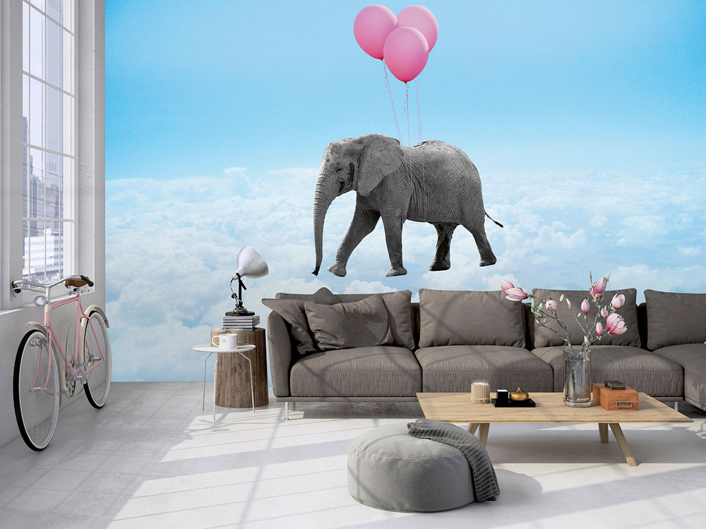 fototapete f r kinder elefant mit rosa ballonen. Black Bedroom Furniture Sets. Home Design Ideas