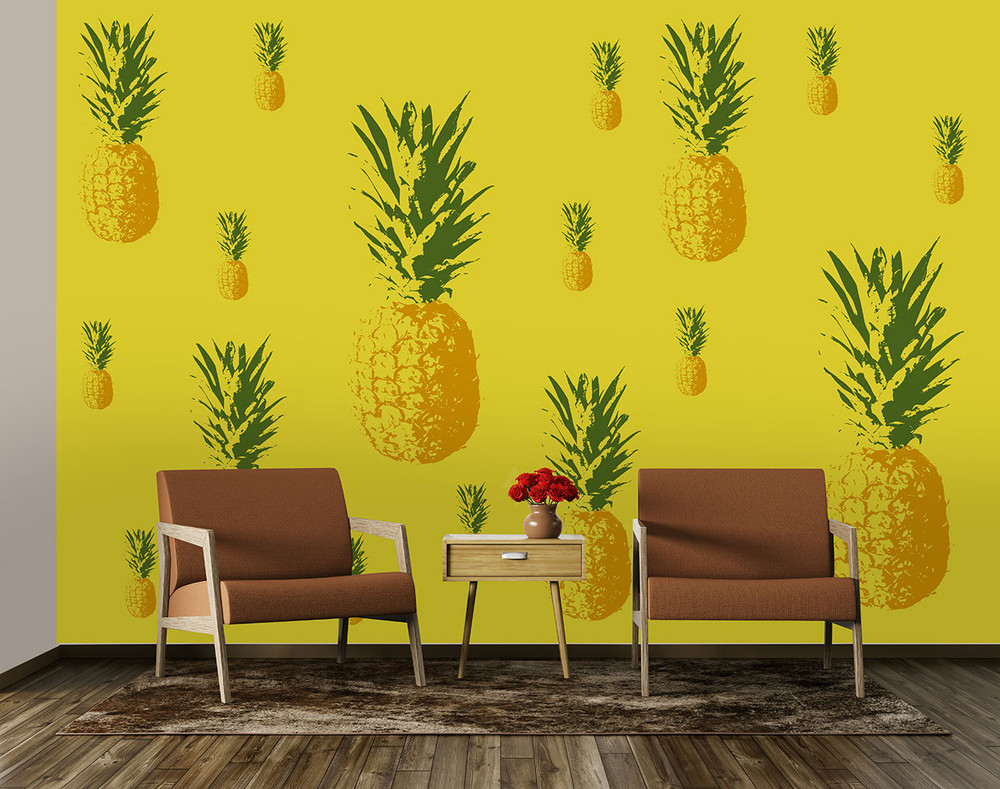 fototapete essen ananas fr chte f r die k che vlies. Black Bedroom Furniture Sets. Home Design Ideas