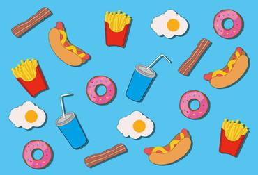 Fototapete Modern Essen Fastfood Love Blau – Bild 2