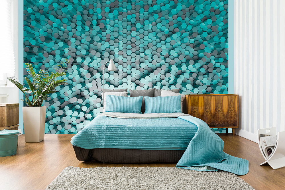 fototapete 3d effekt abstrakt pentagon fototapeten premium. Black Bedroom Furniture Sets. Home Design Ideas
