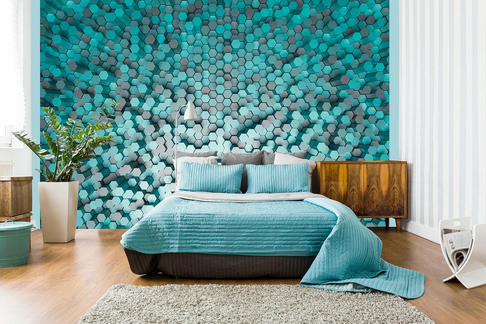 fototapete 3d effekt abstrakt pentagon vlies fototapeten wiizi fototapeten. Black Bedroom Furniture Sets. Home Design Ideas