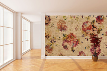 Wall Mural Flowers on Jute – Bild 1