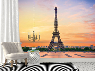 Fototapete Eiffelturm Paris Schwarz-weiß