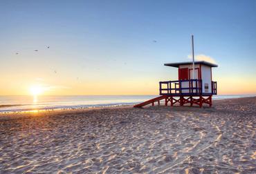 Fototapete Strand Idyllisch Sonnenuntergang – Bild 1