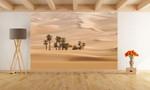 Fototapete Wüste mit Oase hinter Düne 001