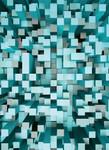 Papier Fototapete 3D Quadrate blau 184x254cm 001