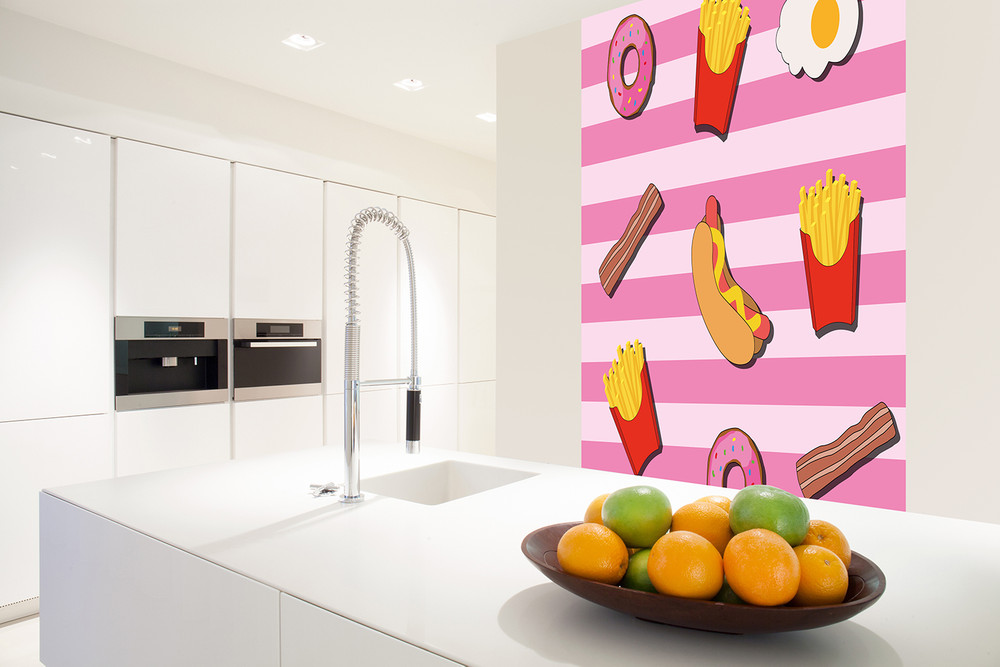 Papier Fototapete Fast Food Küche Pink 184x254cm
