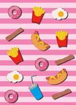Papier Fototapete Fast Food Küche Pink 184x254cm 001