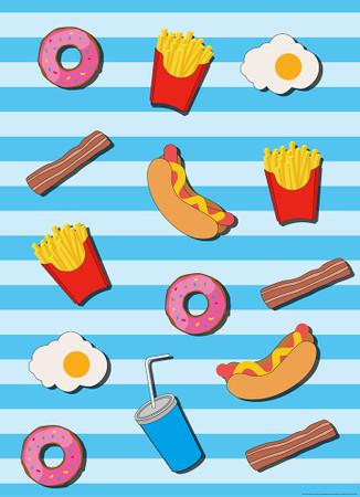 Papier Fototapete Fast Food Küche Blau 184x254cm – Bild 1