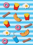 Papier Fototapete Fast Food Küche Blau 184x254cm 001