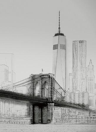 Papier Fototapete New York Art Illustration schwarz und weiß 184x254cm